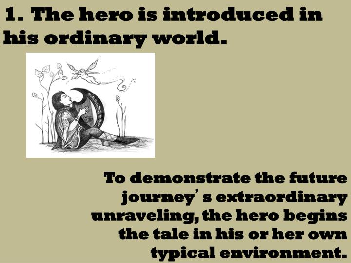 1.  The hero is introduced in his ordinary world.