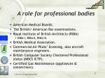 a role for professional bodies