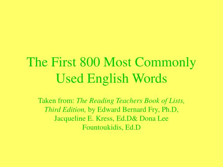 the first 800 most commonly used english words n.