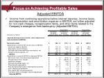 focus on achieving profitable sales