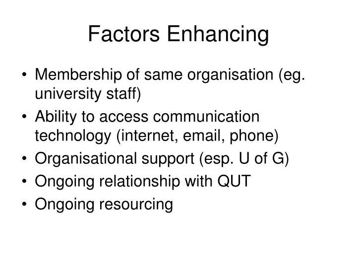 Factors Enhancing