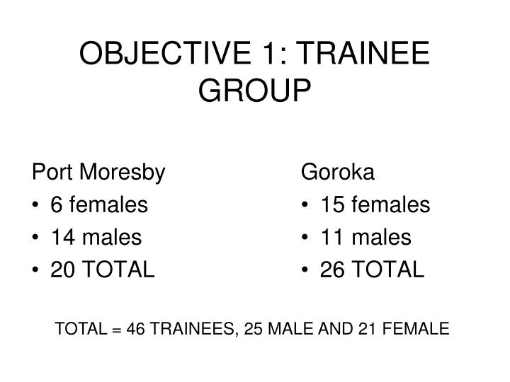 OBJECTIVE 1: TRAINEE GROUP