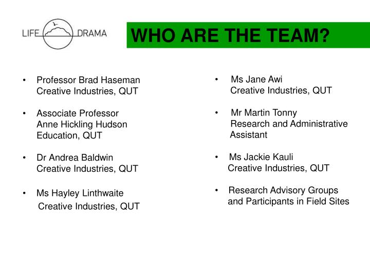 WHO ARE THE TEAM?