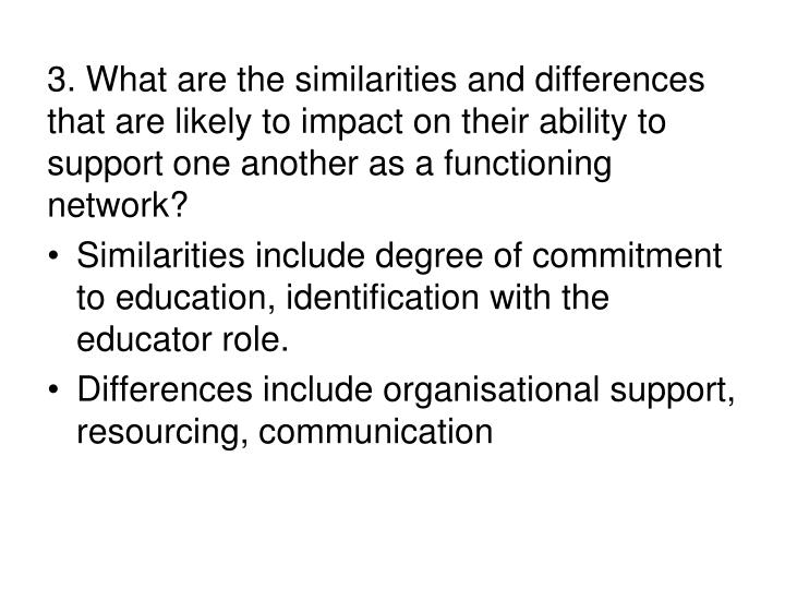 3. What are the similarities and differences that are likely to impact on their ability to support one another as a functioning network?