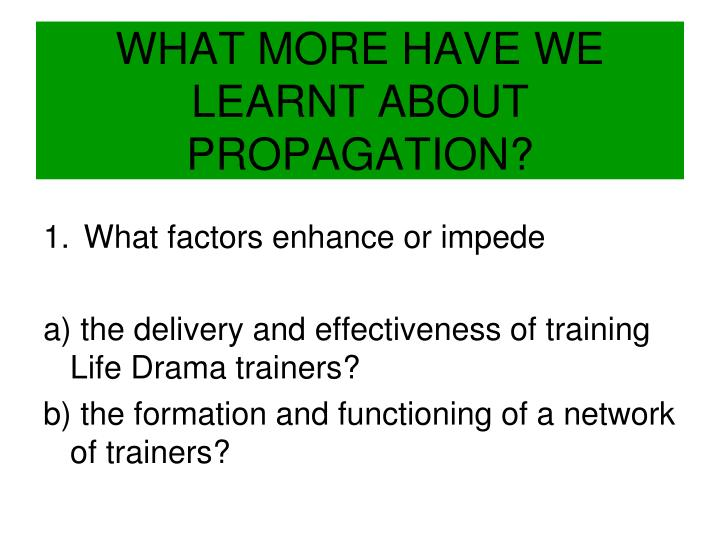 WHAT MORE HAVE WE LEARNT ABOUT PROPAGATION?