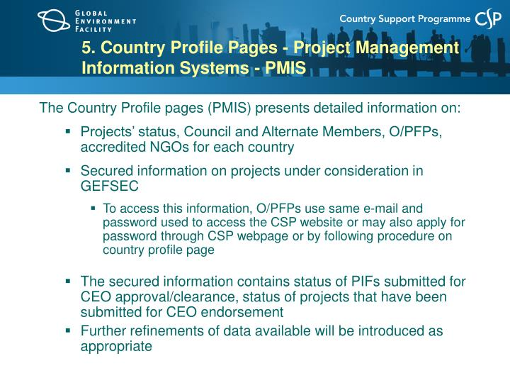 5. Country Profile Pages - Project Management Information Systems - PMIS