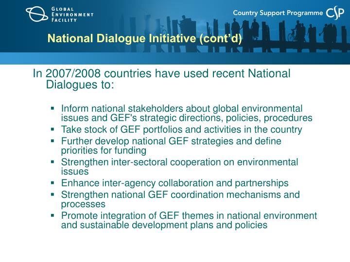 National Dialogue Initiative (cont'd)