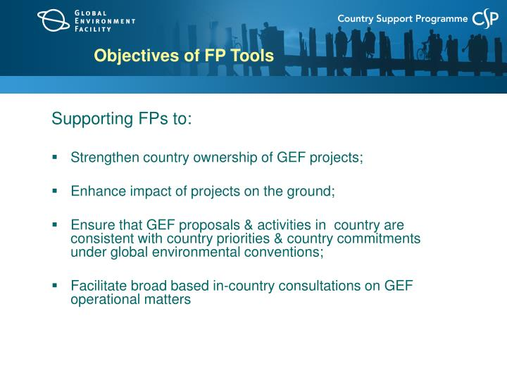 Objectives of fp tools