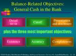 balance related objectives general cash in the bank