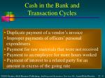 cash in the bank and transaction cycles1