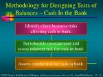 methodology for designing tests of balances cash in the bank