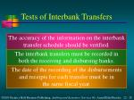 tests of interbank transfers