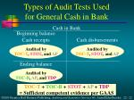 types of audit tests used for general cash in bank