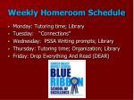 weekly homeroom schedule