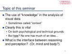 topic of this seminar