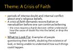theme a crisis of faith