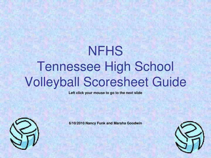 nfhs tennessee high school volleyball scoresheet guide n.