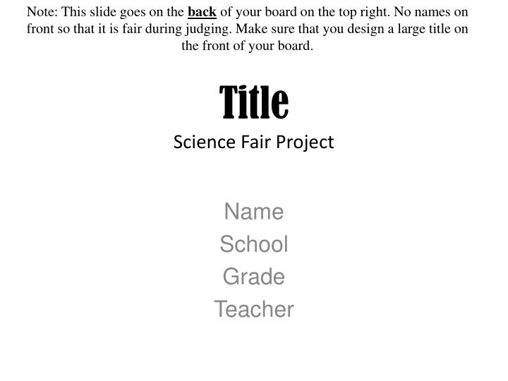 title science fair project n.