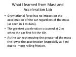 what i learned from mass and acceleration lab