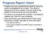 progress report intent