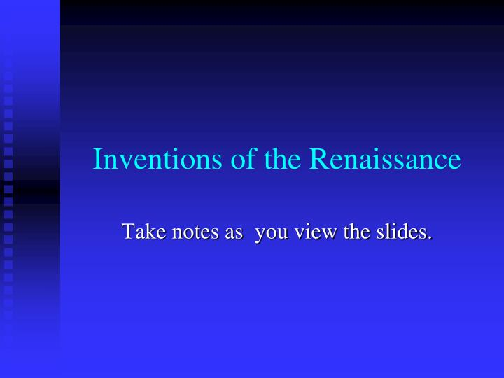 inventions of the renaissance n.