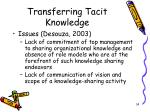 transferring tacit knowledge