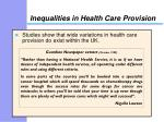 inequalities in health care provision