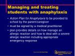 managing and treating students with anaphylaxis