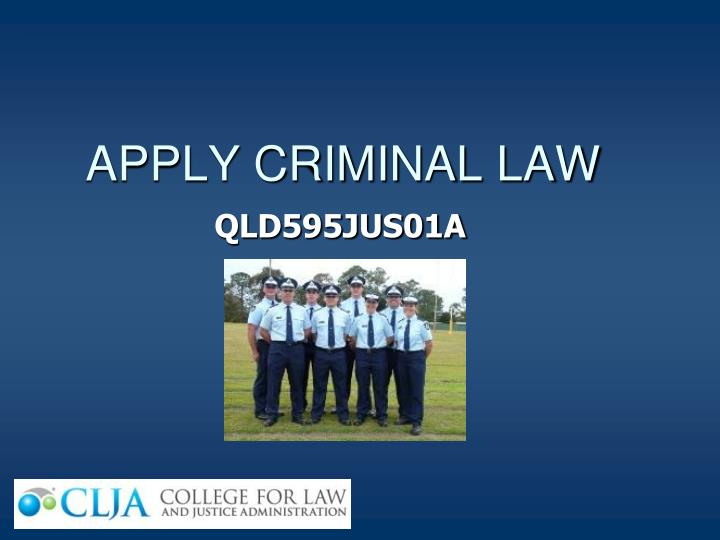 apply criminal law n.