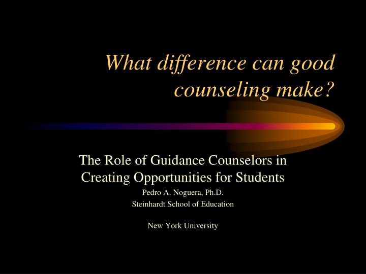 what difference can good counseling make n.