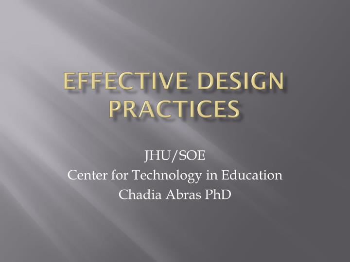 effective design practices n.