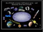 an off earth economy will begin to grow and ultimately dwarf that of earth