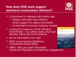 how does hse work support workforce involvement offshore