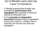 out of mendel s work came two laws of inheritance