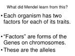 what did mendel learn from this