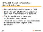 nfpa 805 transition workshop harris risk review