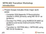 nfpa 805 transition workshop introduction