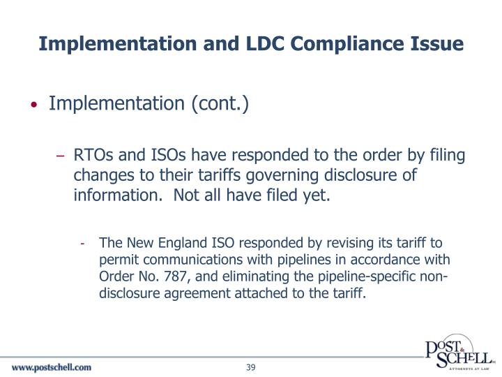 Implementation and LDC Compliance Issue