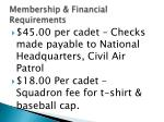 membership financial requirements