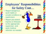 employees responsibilities for safety cont