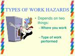 types of work hazards