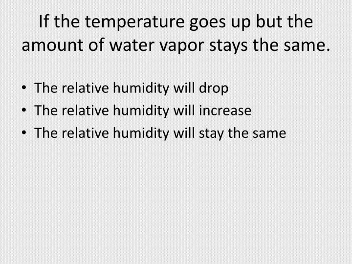 If the temperature goes up but the amount of water vapor stays the same.