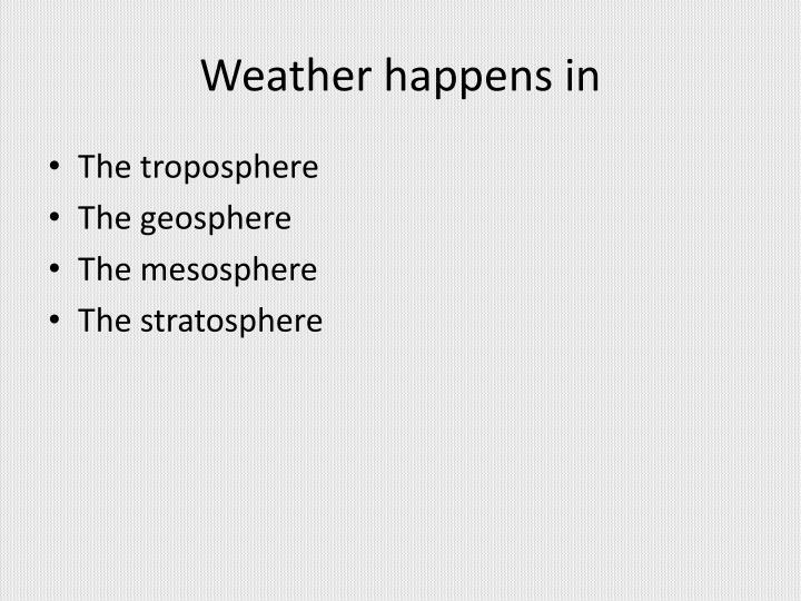 Weather happens in