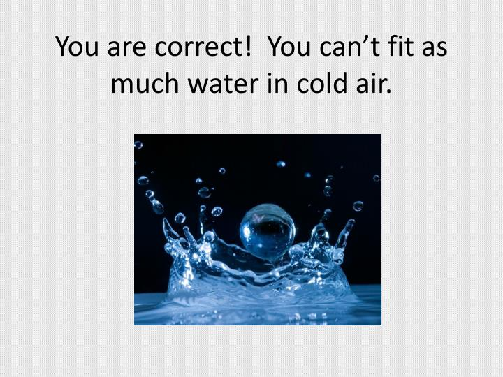 You are correct!  You can't fit as much water in cold air.