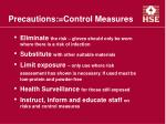 precautions control measures