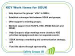 key work items for sguk