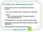 so where do safety groups fit in