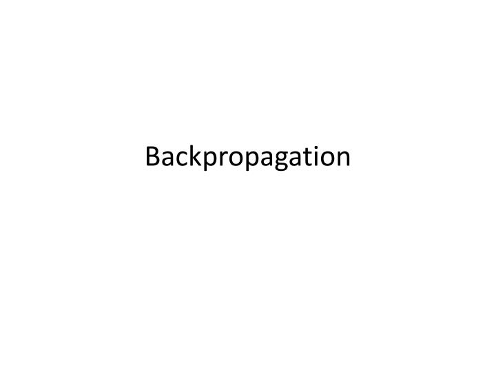 backpropagation n.