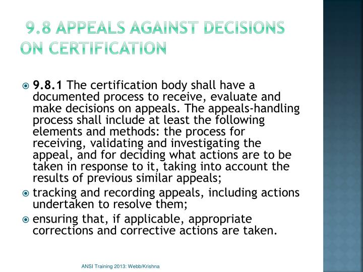 9.8 Appeals against decisions on certification