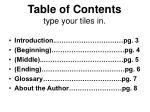 table of contents type your tiles in